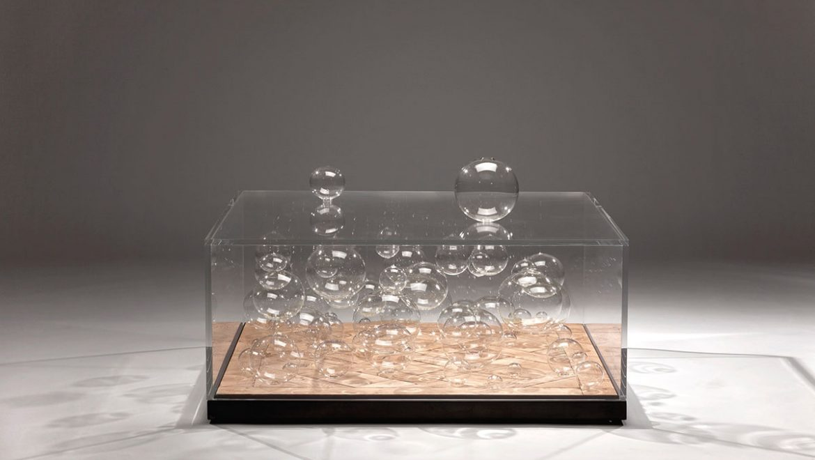 COFFEE TABLE, luxurious, unique, Balls, bubbles, Murano blown glass, Versailles parquet, LED lights, plexiglas, steel.