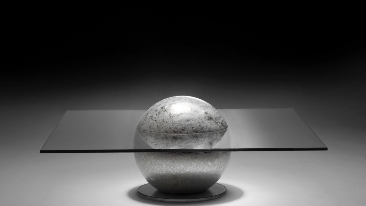COFFEE TABLE, luxurious, unique, moon, Murano glass blown sphere, pullegoso, mirrored
