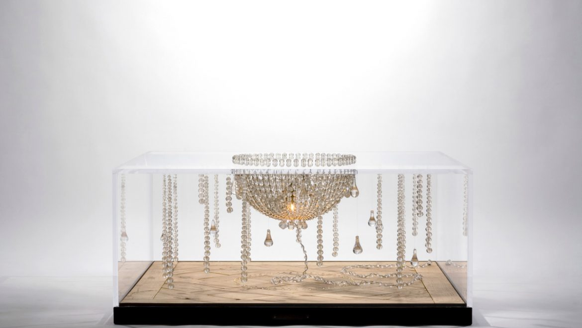 COFFEE TABLE, luxurious, unique, basket crystal chandelier, Versailles parquet, LED lights, plexiglas