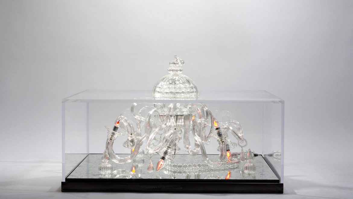 COFFEE TABLE, luxurious, unique, Crystal Murano chandelier, Archimede Seguso, mirror, plexiglass, venice, artistic, creative, chic, edgy