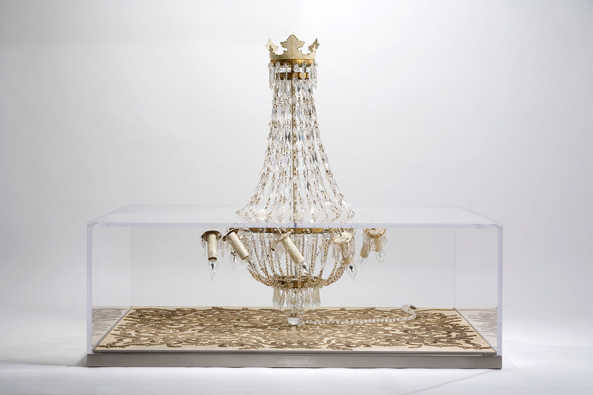 Decadent, COFFEE TABLE, luxurious, unique, A Napoleon IIIrd tapestry, 18th Century Swedish chandelier, plexiglas