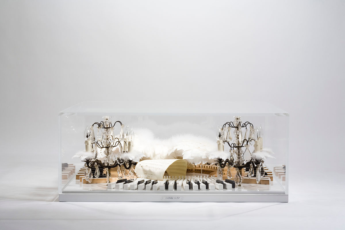 COFFEE TABLE, luxurious, unique, Anna Karenina, piano keys, white wings, 19th Century piano partitions, 19th Century crystal chandeliers, plexiglas, Glamorous