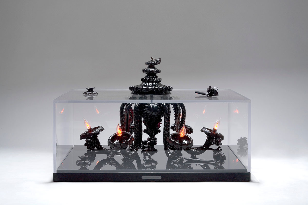 Mauro of Venice, COFFEE TABLE, luxurious, unique, Crystal Murano chandelier, Archimede Seguso, black mirror, plexiglas, magnificent